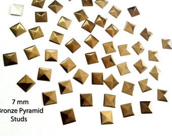 DIY Studs - 40 Bronze 7 mm  Pyramid  Square Studs - Iron On, Hot Fix, or Glue On -No' 002