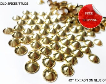 DIY Studs - 100 PCS 10 mm Gold Spikes Studs Iron On, Hot Fix, or Glue On - Free Shipping