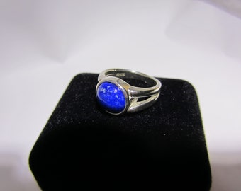 Solid 925 SterlingSlightly Imperfect - Silver Blue Lapis Lazuli Cabochon Ring - Size 7 - Natural Blue Gemstone - Handmade In USA