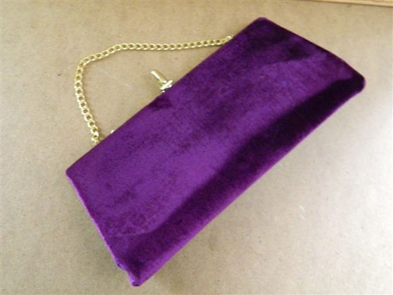 Purple Crushed Velvet Vintage Clutch by Ila of California