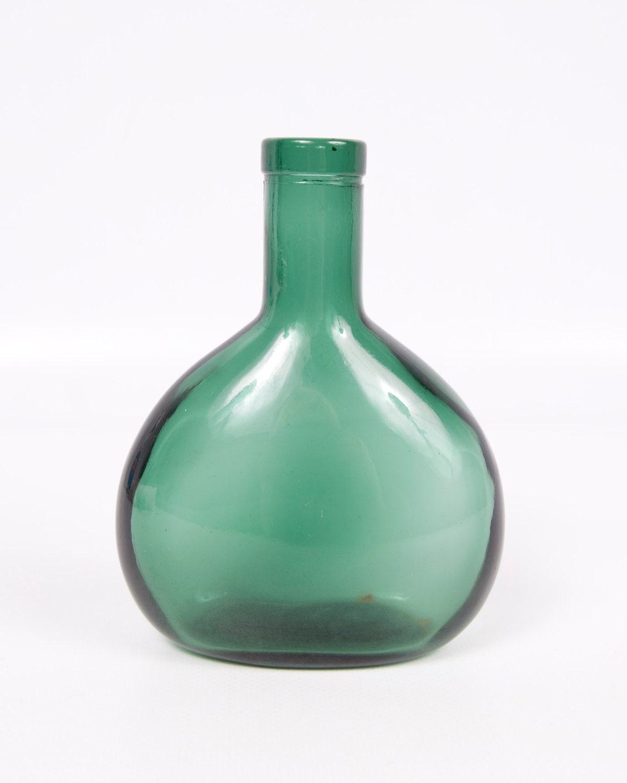 Vintage emerald green glass bottle vase wine bottle for Retro glass bottles