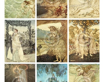 Fairy Princess ATC backgrounds Collage Sheet Printable Instant Digital Download File