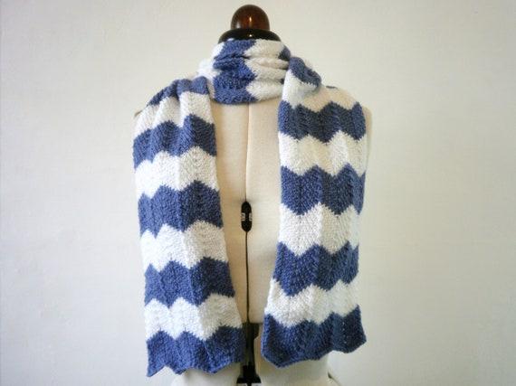 Blue and white chevron scarf , striped zigzag scarf
