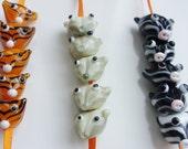 Cutesy animals - handmade lampwork bead sets