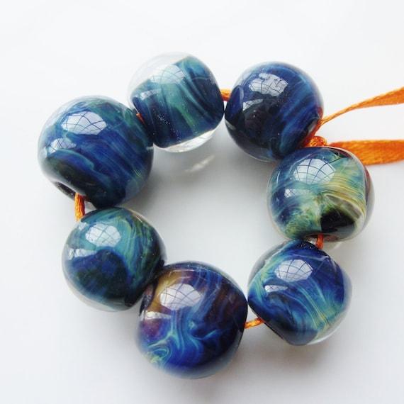 Oceanic - handmade lampwork bead set