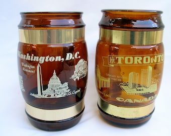 Pair of Souvenir Mugs Amber Handled Cups from Washington, DC and Toronto