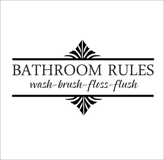 Bathroom Rules Wall Decor : Items similar to bathroom rules vinyl wall decal