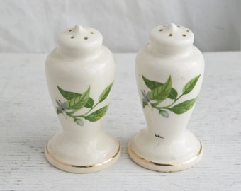 Vintage Painted Floral Salt and Pepper Shakers, White and Green Porcelain Salt Shaker, Vintage Kitchen