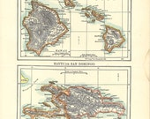antique map of Hawaii, the Hawaiian Islands, from the 1900's, antique home decor or unique gift idea