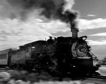 Steam train black and white bw colorado fine art photograph print 8x10