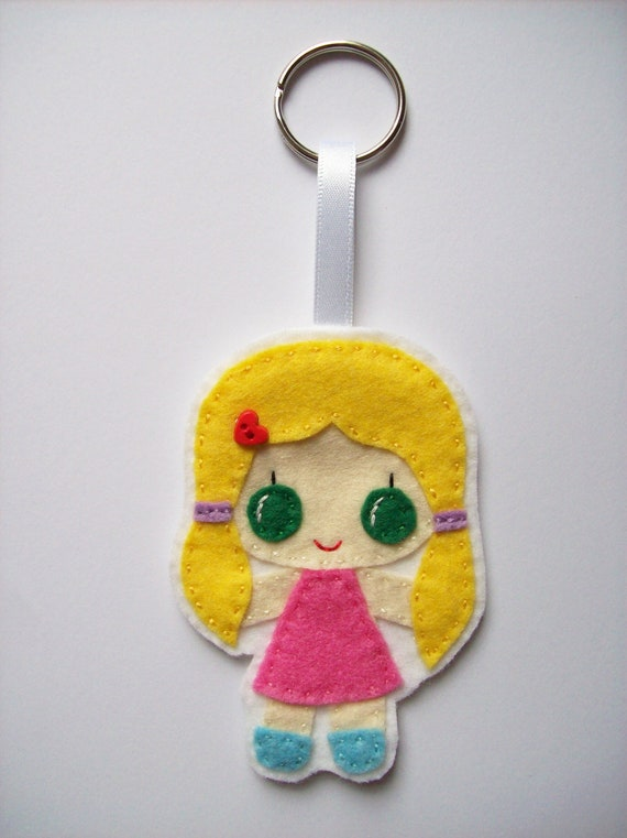 Little girl bag tag, keyring, key chain, hanging decoration. Little Ladies collection