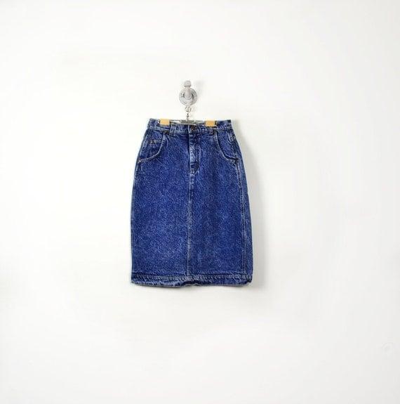 lee jean skirt - vintage denim pencil skirt - 3/4 length