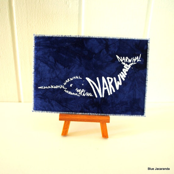 Narwhal Art Card - White Screenprint on Blue - Calligram