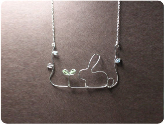 Rabbit and Seedling - Necklace, Wire, Crystal Beads