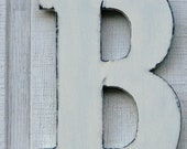 """Guest Book Wooden letters rustic Letter B Home Decor Distressed Painted Vintage White 12"""" tall Wood Name Letters, Custom Made"""