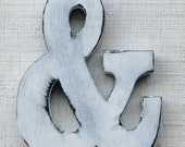 "Rustic Wooden Ampersand 8"" Tall Rustic Baby Nursery Decor Kids Room Distressed in White Great Gift"
