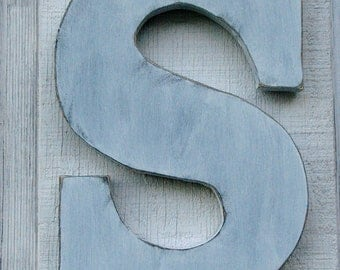 "Rustic Wooden Wall letter ""S"" Painted White Distressed 12"" Tall Hanging  You Pick Letter and Color"