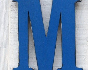 "Wooden Letters M Distressed in True Blue,12"" tall Wood Name Letters, Custom Gift You Pick Color"