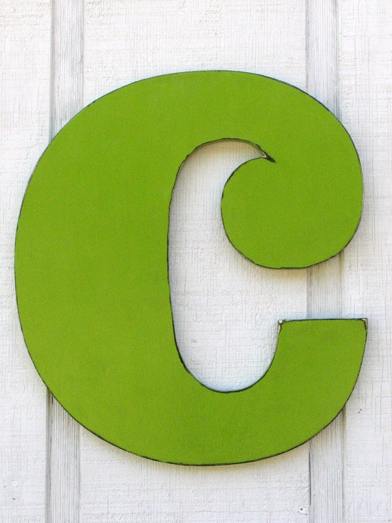 baby nursery large wooden letters c lowercase painted citrus green 18 inch tall wood name letters