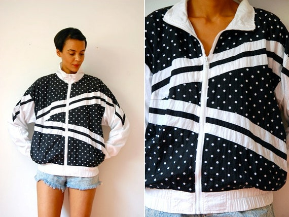 Vtg B&W Polka Dot Abstract Zip Up Windbreaker Jacket w Pockets