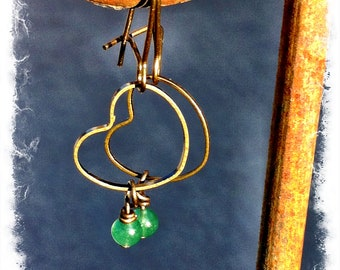 Hand Crafted Green Aventurine Rustic Brass Drop Earrings