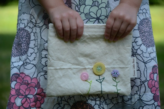 Reusable Snack Bag, Eco Snack Bags, Button Flowers Nylon Lined, Back To School