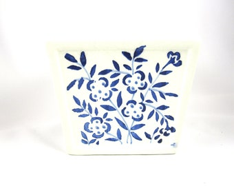 Floral Arranger, Made in Portugal, Blue and White, Vintage Pottery