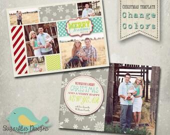 Christmas Card Template PHOTOSHOP TEMPLATE - Family Christmas HOLLY