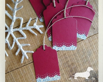 Mistletoe. Gift Tags (Set of 12) -- (Vintage-Style, Christmas Gift Tags, Holiday Tags, Red, Lovely, Thank You Tags, Red, Lacey, Gift Wrap)