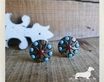 LAST ONE! Stellar. Post Earrings-- (Vintage-Style, Tribal, Boho, Rustic, Red, Blue, Bright, Polka Dot, Turquoise, Birthday Gift Under 15)