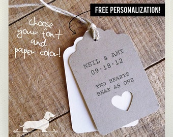 Natural Heart. Personalized Gift Tags (Set of 12) -- (Brown Kraft Paper, Bridal Shower, Wedding Favor Tags, Free Personalization, Custom)