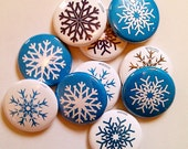 Set of 10 Blue Snowflake Magnets