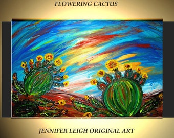 Original Large Abstract Painting Modern Contemporary Canvas Art Flowering Cactus Blue Yellow 36x24 Palette Knife Texture Oil J.LEIGH