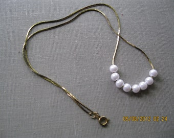 """Vintage Jewelry fine gold chain with pearl beads necklace 18"""" unsigned"""