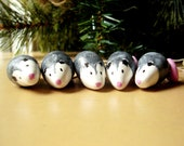 Possum Ornaments - Possum Miniature Figurines - Polymer Clay Possum - Tiny Ornaments