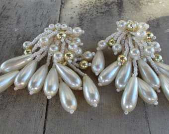 Beaded Faux Pearl Earrings