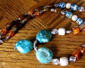Turquoise nugget, silver, shell and stone necklace