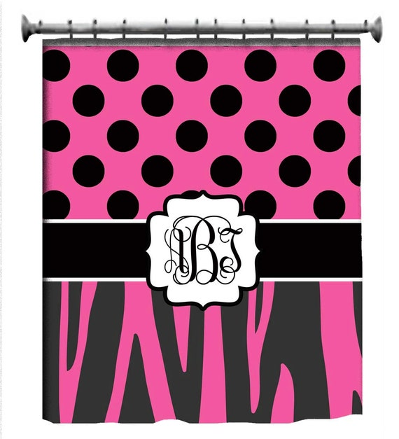 Custom hot pink zebra shower curtain personalized for Pink and zebra bathroom ideas
