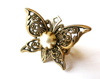 Victorian Butterfly Ring with Pearl Cabochon - Victorian Jewelry