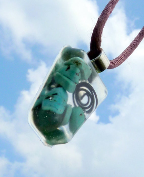 Orgone Energy Accumulator Pendant with Turquoise and Hematite. EMF Protection.