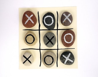 Tic Tac Toe game, Beach Pebbles with Magnets by HappyEmotions, Play, Gift Ideas, Sea Stones, Rocks