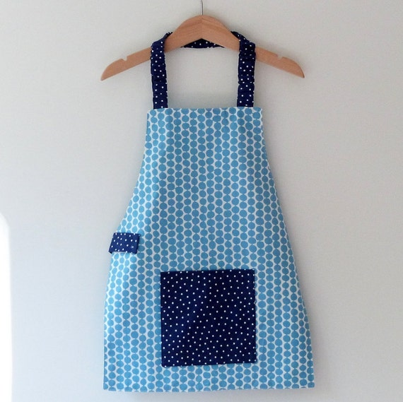 Girls Montessori Apron, Preschool Apron, Modern Blue Handprinted Fabric, Polkadots, Free US Shipping