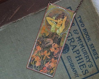 Mucha necklace Precious Gems series Amythest mixed media jewelry