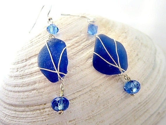 Blue Sea glass earrings, royal blue wire wrapped and beaded free shipping