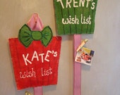 Personalized child wish list hand painted burlap in christmas red or green