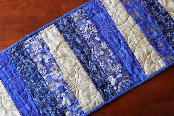 Gold runner blue christmas Blue table Quilted Christmas  Winter Table & Runner