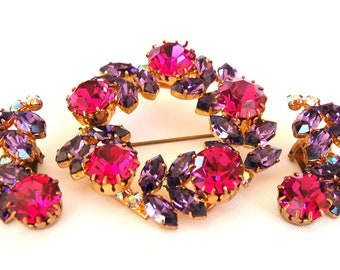 Pink Purple Rhinestone Brooch Earring Parure Set