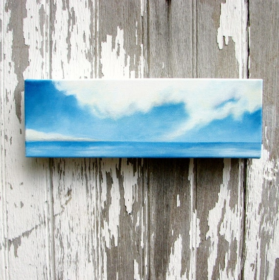 Seascape original oil painting home decor wall art father's day gift clouds abstract nautical sky blue ocean  - Latitude series ten