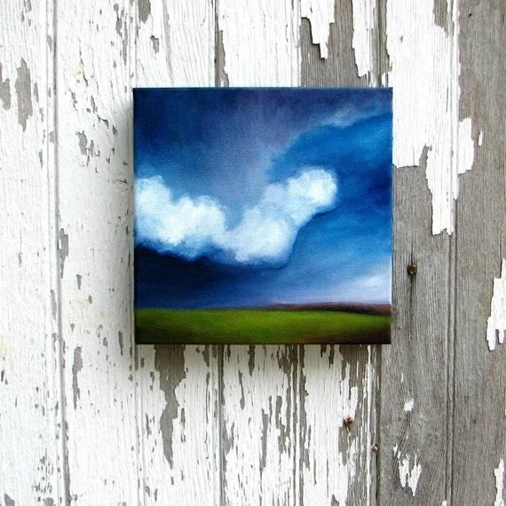 Original oil painting original art thunderstorm landscape clouds home decor painting 8x8 - Pressure