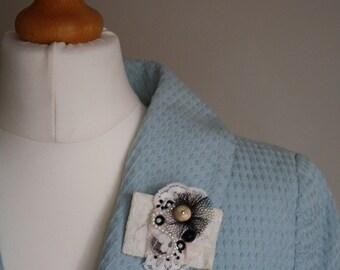 Ivory/ black beaded brooch FREE UK SHIPPING